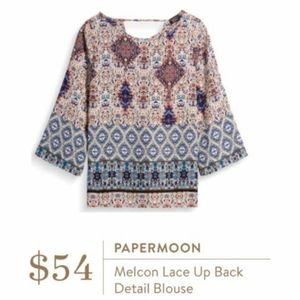 Papermoon Melcon Lace Up Back Colorful Blouse